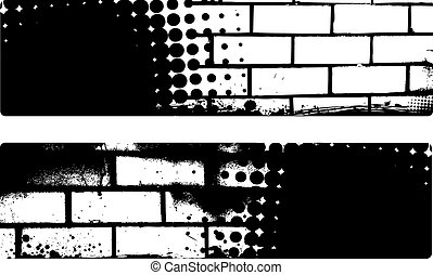 Grunge banner with brick wall background