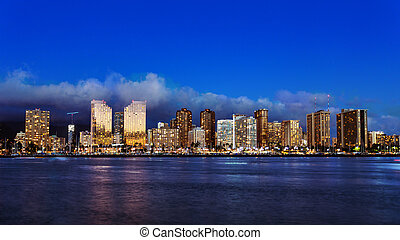 Skyline of downtown Honolulu, Oahu, Hawaii