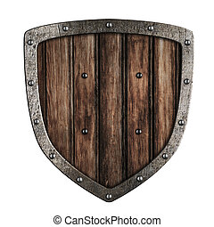 Old wooden shield isolated on white