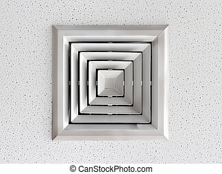 Air duct in square shape on Cellulose ceiling