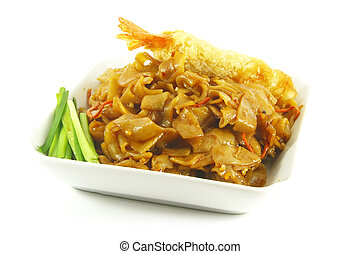 Stir Fried Asian Style Noodles On a White Plate