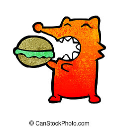 cartoon fox eating burger