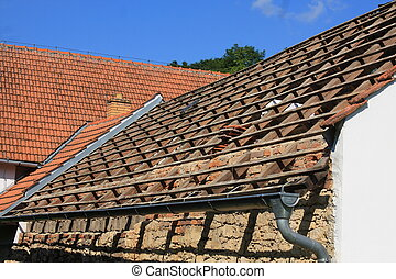 Roof coverings without - The old part of the roof without...