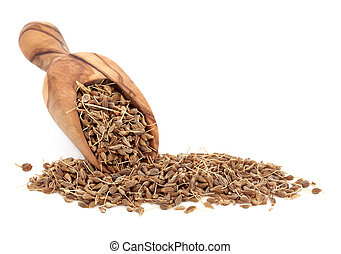 Aniseed Spice - Aniseed spice in an olive wood scoop over...