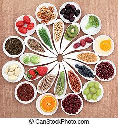 saúde, alimento, platter