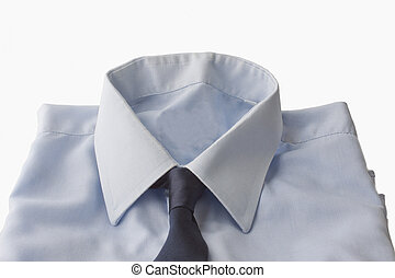 Shirt - High part of a blue shirt with tie isolated over...