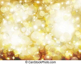 gyllene, abstrakt, helgdag, bakgrund