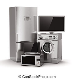 Home appliances. Tv, refrigerator, microwave, laptop and...