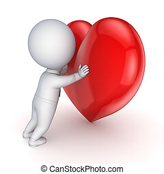 3d person and red heartIsolated on white3d rendered
