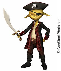Goblin Pirate Captain - Green-skinned goblin pirate captain...
