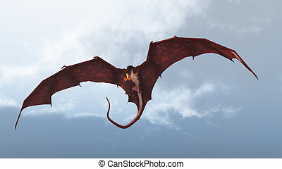 Red Dragon Attacking from Clouds