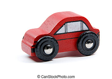 Red toy car isloated on white