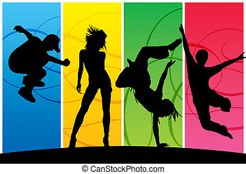 Dancing people - Silhouettes of dancing happy people