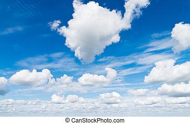 Cloudscape. Blue sky and white cloud. - Cloudscape. Day Blue...