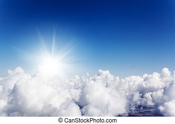 Cloudscape. Blue sky and white cloud. Sunny day. Cumulus...
