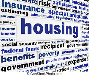 Housing social issue creative design. Government support...