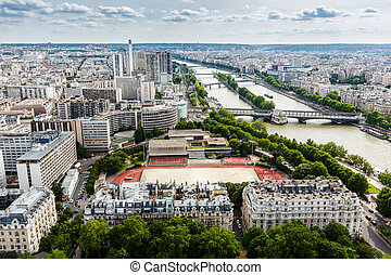 Aerial View on River Seine and Pont de Bir-Hakeim from the...