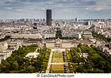 Aerial View on Champ de Mars from the Eiffel Tower, Paris,...