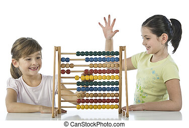 Girls using abacus