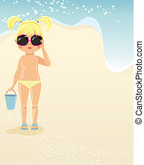 Girl in glasses on the beach
