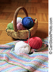 Needlework accessories - Cotton thread and knitting hook....