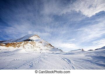 Ski slopes in Kaprun resort next to Kitzsteinhorn peak,...