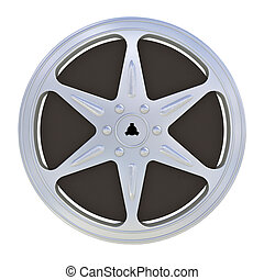 16 mm motion picture film reel - isolated on white...