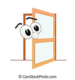 big eye and open door art vector