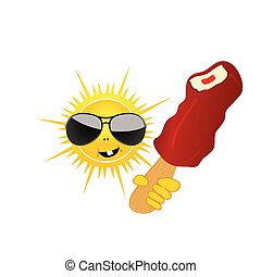 sun with ice cream vector
