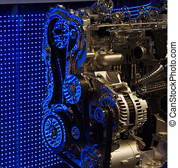 Engine internals with blue LED reflections - Cut out of...