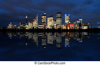 Sydney at night - sydney cbd panorama at night, buildings...