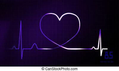 heartbeat purple of EKG monitor