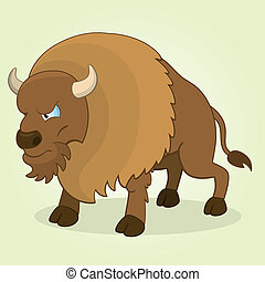 Bison - Vector Illustration of Cartoon Bison