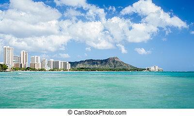 Waikiki beach with Diamond head and hotels background
