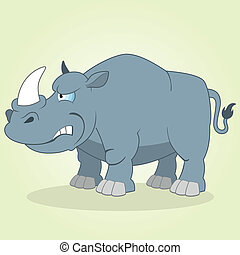 Rhino - Vector Illustration of Cartoon Rhino