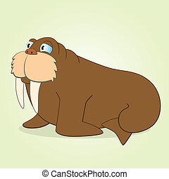 Walrus - Vector Illustration of Cartoon Walrus
