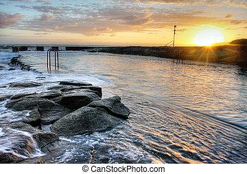Océano, piscina, roca