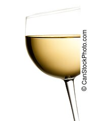 glass of white wine tilted with space for text on a white...