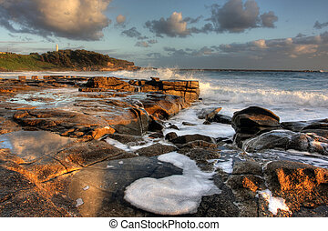 Ocean Rock Pool - Ocean rock pool at Yamba beach with waves...