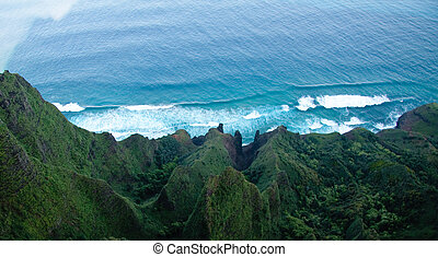 Aerial view down the Na Pali coastline in Kauai - View down...