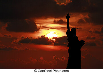 Statue of Liberty - The Statue of Liberty at Sunset, New...