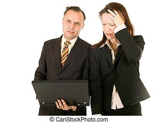 crisis: desperate business - business woman and man sadness...