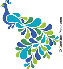 Abstract Peacock - Retro-styled illustration of a peacock in...