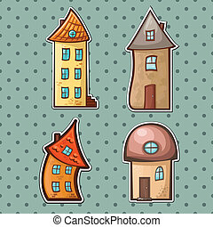 set houses - a set of hand-drawn cartoon houses in different...