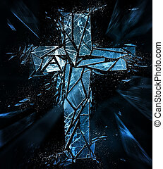 Cross breaking apart - A Christian cross made out of glass...