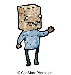 cartoon man with paper bag on head