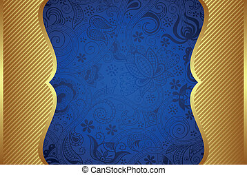 Abstract Gold and Blue Frame