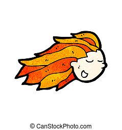 cartoon flaming red hair head