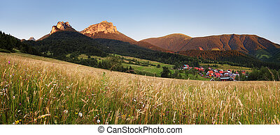 Mountain meadow panorama with village - Slovakia, Vratna -...