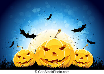Halloween grunge background - Halloween black and blue...